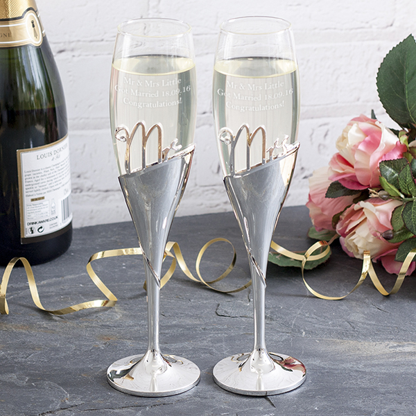 Personalised Mr & Mrs Amore 3D Lettering Champagne Flutes - Champagne Gifts
