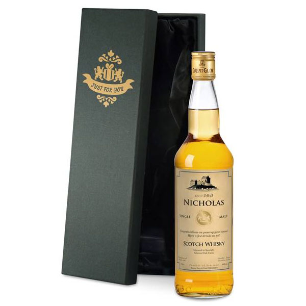 Personalised Single Malt Whisky Gold Gift Carton