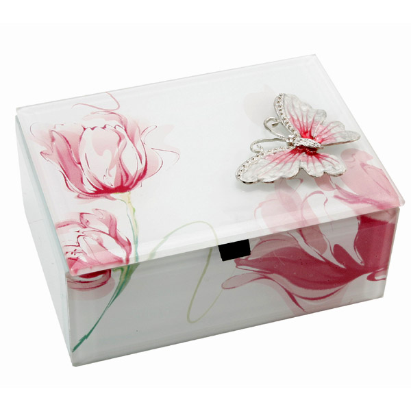 White & Pink Floral Trinket Box with Butterfly - Butterfly Gifts