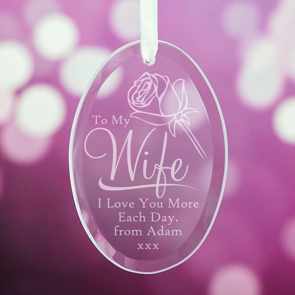 Personalised Wife Oval Hanging Glass Ornament - Ornament Gifts