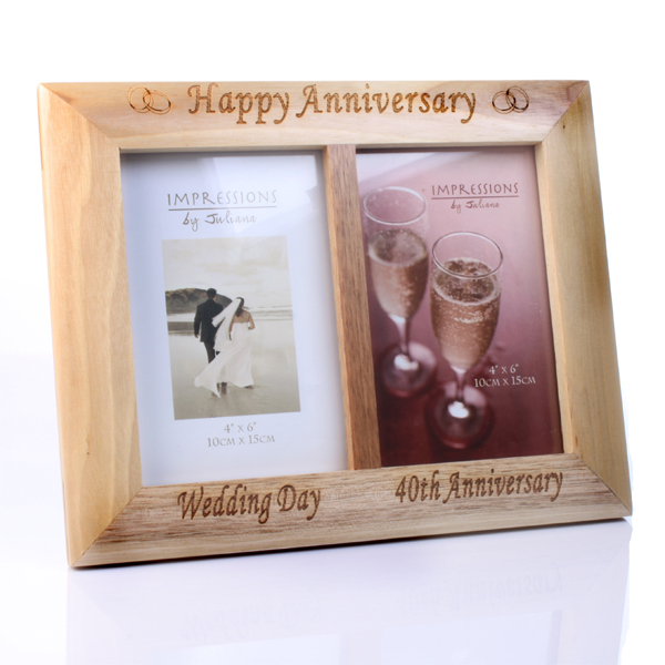 Wooden Oak Effect 40th Anniversary Frame - 40th Gifts