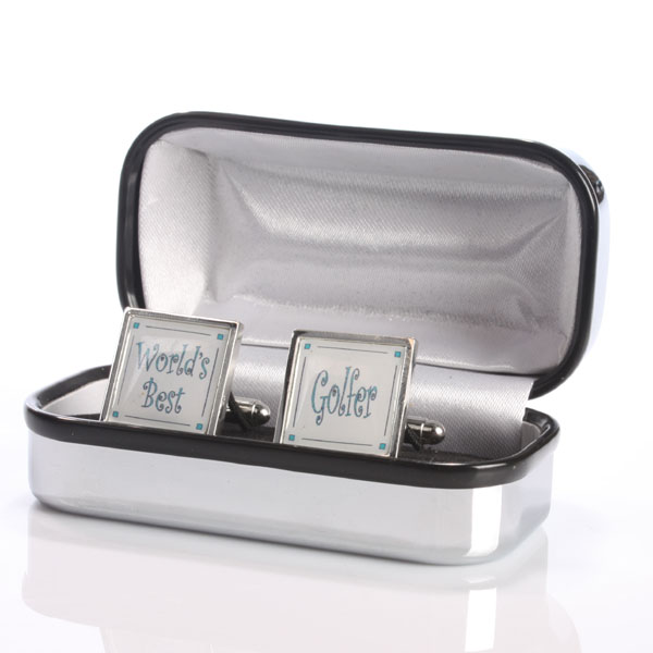 World's Best Golfer Cufflinks in Personalised Box